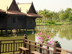 Magical Places and Things -The Mekong (12) (The Spirit of the World ( On and Off)) Tags: teak teakhouses asia architecture cambodia southeastasia bougainvilla flowers nature pond indochina park siemreap