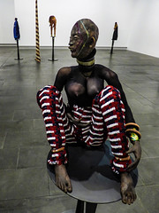Trouser Stripes (Steve Taylor (Photography)) Tags: african bangles stripes pedestal totem fashion art sculpture artgallery contrast woman lady newzealand nz southisland canterbury christchurch perspective tribal
