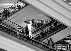 up & down (neongelbschwarz) Tags: up down shopping mall sw bw schwarz weis