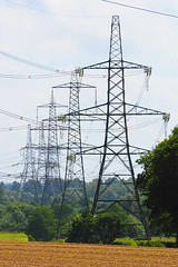Power to the People (fstop186) Tags: pylons electricity power countryside grid nationalgrid alien scifi waroftheworlds hgwells fact fiction civilengineering metal structure compressedperspective landscape hampshire portrait energy supply summer trees fields crops giant vanishingpoint