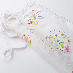 hexagons and flowers (contemporary embroidery) Tags: hexagons floral flowers embroidery applique