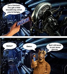 THE SNICKERS COMMERCIAL I WANT TO SEE (DarkJediKnight) Tags: alien xenomorph big chap alf gordon schumway snickers commercial candy bar humor parody spoof fake nostromo