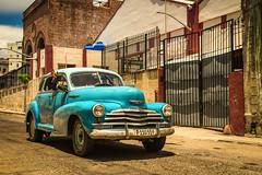 Hello Hello ! (ISP Bruno Laplante) Tags: havana cuba old car vintage decay street blue aqua chevy hello chrome