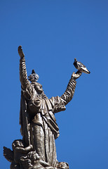 """""""Hallelujah"""" (Nilson Bazana) Tags: statue humour pigeons birds comedy religion faith belief heaven sky blue relaxed heresy street arms openarms praying blessing"""