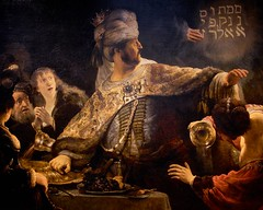 the writing is on the wall (khrawlings) Tags: wall writing prophecy doom judgment belshazzar feast banquet bible rembrandt painting nationalgallery london babylon per mene tekel upharsin