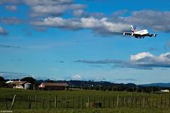 Welcome to New Zealand (Wildlife_Biologist) Tags: auckland newzealand nz airplane airbus airbusa380 a380 landing farm landscape sky bluesky jeffahrens wildlifebiologist
