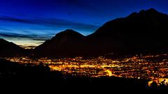 "Blue hour over Innsbruck (steel-prophet) Tags: nikon nikkor europa europe austria österreich tyrol tirol innsbruck blau blue yellow gelb orange sonnenuntergang sunset ""bluehour"" ""blauestunde"" dämmerung twilight natur nature landschaft landscape city stadt amazing awesome hills berge tal valley d700 50mm sky f10 flickrtoday ngc"