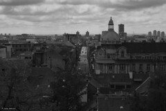 Old town (lbencini) Tags: zagreb croatia vacation town old blackandwhite city smog clouds sunny street light sun streetphotography wow roof cars people persons trees