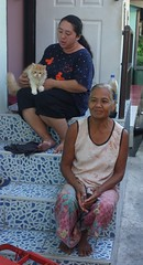 ladies on their porch with cute cat (the foreign photographer - ฝรั่งถ่) Tags: two ladies sitting porch cute cat khlong thanon portraits bangkhen bangkok thailand sony rx100