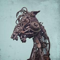 Psycho Steampunk Horse Sculpture (jim.choate59) Tags: horse steampunk metal scary sculpture metalsculpture lawn jchoate nightmare dream disturbing rx100 on1pics