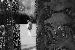 cowboy between curtains (mona_dee) Tags: nordart rendsburg art exhibition people bw