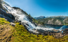 The waterfall (Tore Thiis Fjeld) Tags: norway hordaland westernnorway åkrafjorden langfossen waterfall outdoors summer nature panorama stitch nikon samyang 14mm water mountains wilderness view fjord landscape hiking altitude