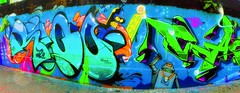life from outer space (try...error) Tags: graffiti graffito wien vienna leica c pano panorama street art streetart urban urbanarte robot robots blue blau grün green gelb yellow donau danube donaukanal orange flickr