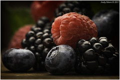 Macro Mondays - Staying Healthy - Mixed Berries (in Explore 8th Aug 2017) (andymoore732) Tags: macromondays macro mondays berries blackberry raspberry blueberry mixedfruit artificiallight bowens andymoore colour nikon d500 afs vr micronikkor 105mm f28gifed challenge theme flickr