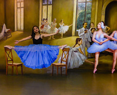 Doing the Splits (Steve Taylor (Photography)) Tags: trickeyemuseum ballet training ballerina tutu dancing art mural window chair blue brown white yellow woman women man asia singapore balance illusion