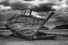 The Wreck (aka 'Bad Eddie') (Alan RW Campbell) Tags: wildatlanticway donegal ireland old beach clouds blackandwhite badeddie bunbeg shipwreck wreck x100t fuji photography alancampbell fineartprints landscape picturesofireland northernireland