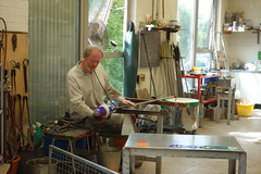 Glass Blowing at Ruskin Glass Centre (Lydie's) Tags: glassblowing ruskinglasscentre glassart man stourbridge studio workshop tongs kiln ladder fan moltenglass chalkboard