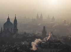 Smoky morning sunrise (10000 wishes) Tags: smoke city prague church travel landscape dawn haze chimmneys