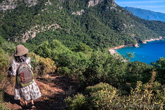 Female Tourist On The Trail To Kabak Beach, Fethiye, Muğla, Turkey (Feng Wei Photography) Tags: traveldestinations fethyie eastasia mediterraneansea turquoisecoast turkeymiddleeast female mediterraneanturkey tranquilscene beautiful travel secluded relaxation outdoors horizontal lycia muglaprovince hike highangleview scenics colorimage sea tourist beach peaceful beautyinnature gettingawayfromitall coast remote kalabantia cliff idyllic turkishculture tourism turquoisecolored turkish