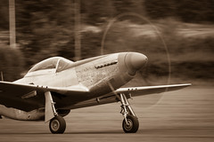 _DSC3230-9 (Ian. J. Winfield) Tags: shuttleworth oldwarden bedfordshire airshow air display heritage aviation aeroplane plane aircraft airplane monochrome sepia ww2 worldwar usaf usac usaac usaaf northamerican mustang tallinthesaddle p51 p51p51 p51d p51dp51d redtail tuskegee packard merlin hangar11 takeoff takingoff blurred prop blur