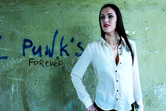 Punk's forever (livsillusjoner) Tags: 2012 girl woman young color colors colour colours tag tagging wall green blue white brown brunette lipstick red portrait people outdoor outside murmansk russia мурманск россия grafitti