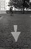 V (Johuhe) Tags: street cobblestones arrow walking people bokeh depth field dublin ireland analog film black white monochrome urban leica m2 summicron rigid kodak tmax 400 xtol epson v500