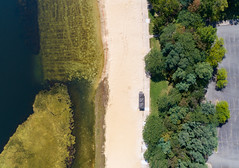 round valley lake - algae (sephrocker) Tags: drone phantom4advanced aerial birdseye landscape water lake sand beach trees