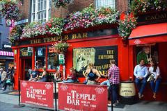 Enjoying Dublin (angelsgermain) Tags: evening pub flower colours street people barrel windows corner beers posters ads sidewalk joy afterwork friends thetemplebar templebar dublin éire ireland