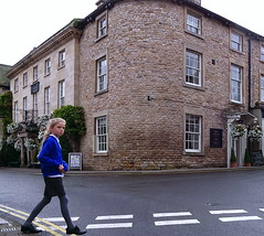 Pedestrian crossing (Snapshooter46) Tags: kirkbylonsdale cumbria pedestriancrossing girl stonebuilding crossingtheroad