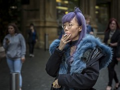 Blue Smoke (Leanne Boulton) Tags: portrait people urban street candid portraiture streetphotography candidstreetphotography candidportrait streetportrait streetlife woman female girl pretty face facial expression look emotion feeling mood blue purple style stylish fashion fur hair smoke smoker smoking cigarette inhaling tone texture detail grain depthoffield bokeh iso3200 naturallight outdoor light shade shadow city scene human life living humanity society culture canon canon5d 5dmkiii 70mm ef2470mmf28liiusm color colour glasgow scotland uk