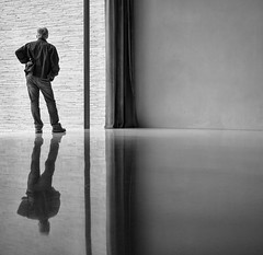 double vision (Georgie Pauwels) Tags: double vision reflection minimal minimalism museum simple public window streetphotography candid moment olympus blackandwhite bnw