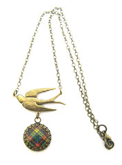 Ancient Romance Series - Scottish Tartans Collection - Buchanan Clan Tartan 20mm Soaring Bird Fob Necklace