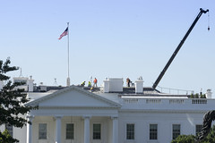 The roof leaks too? (Tim Brown's Pictures) Tags: washingtondc whitehouse constructioncranes workmen rooftop repair