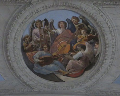 Anges musiciens, église baroque du Gesù Nuovo (1584-1725), piazza del Gesù Nuovo,  Naples, Campanie, Italie.