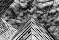 Angular Skies (Darren LoPrinzi) Tags: mono architectural perspective lookingup lookup architecturalperspective clouds cloudscape sky building city urban skyscraper geometric geometry angles diagonal diagonals canon canon5d 5d miii philly philadelphia blackandwhite blackwhite bw lines