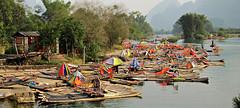 Li River - Yangshou, China (Mary Faith.) Tags: china liriver yangshou guilin south boats tourism river umbrellas mountains hills landscape mygearandme