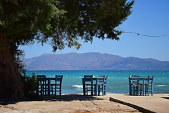 summer moods (JoannaRB2009) Tags: summer mood kissamos crete kriti kreta greece greek blue landscape seascape nature tree light shadow restaurant hill ropotamos peninsula bay sea water mediterranean chair table hot holiday