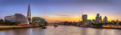 London Panorama (Bernhard Sitzwohl) Tags: pano panorama stitch london towerbridge water thames river cityhall normanfoster hmsbelfast walkietalkie gherkin cheesegrater lloyds sunset dawn outdoor city cityscape greatphotographers