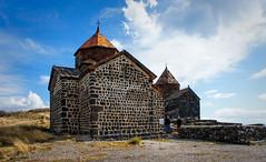 Two surviving churches of Sevanavank (Tiigra) Tags: sevan gegharkunikprovince armenia am 2011 architecture church cross dome medieval rock village wall pattern