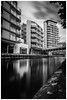 Canalside Apartments. (Ian Emerson) Tags: nottingham nottinghamshire canal towpath clouds longexposure wate glassy reflection outdoor hoya blackwhite canon framed