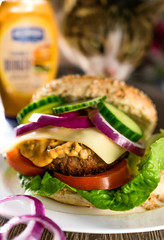 Red Onion and Cheese Beef Burger in Granary Roll (ChicqueeCat) Tags: nikon d3300 40mm macro closeup cat food natural light