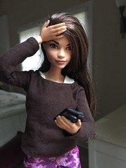 Reading the national news (Foxy Belle) Tags: doll barbie cell phone emotions shock news curvy made move brown hair eyes handmade shirt sew
