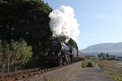 62005 - A sunny Corpach (Andrew Edkins) Tags: lner k1class 62005 corpach sun westhighlands thejacobite railwayphotography trip travel steamtrain scotland uksteam geotagged canon autumn 2017 september mountains light railtour mainline steam harrypotter clag exhaust sky loch