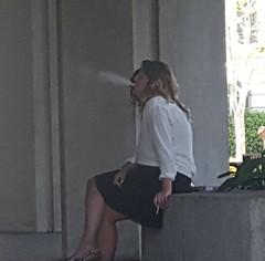 Smoke Break (if you insist) Tags: blonde candid cigarette smoking smoker nicotine tobacco exhale addict