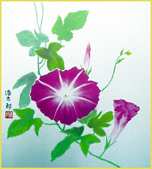 Japanese morning glory (Japanese Flower and Bird Art) Tags: flower morning glory ipomoea nil convolvulaceae kotaro yoshioka nihonga shikishi japan japanese art readercollection