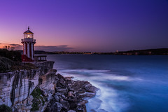 Hornby Lighthouse (lauralimber) Tags: waves sea cliffs softgrad nisifilters nisi longexposure lowlight landscape sky purple hornbylighthouse lighthouse watsonsbay sydney nsw australia sunset seascape