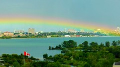 Hope for all those who are affected by hurricanes globally (Trinimusic2008 - stay blessed) Tags: trinimusic2008 judymeikle nature today rainbow viewfrommylivingroom lake park buildings toronto to ontario canada