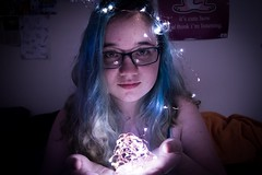 Holding the Light (mdocall) Tags: greeneyes coloredhair bluehair woman girl lovely beautiful pretty cute light crown fairylights lights fairy