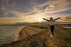 Sunset at Gimblet Rock (gopper) Tags: gimbletrock rock gimblet nikon d7100 sigma 10mm 1020mm gwynedd sea seaside wales welsh cymru shore seashore sunset daughter scenic scenery golden harbour footpath pwllheli lleyn peninsula lleynpeninsula amazing godscountry flickr fflickr ngc postcard view beach british britain uk supershot