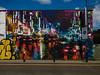 Night and Day (Steve Taylor (Photography)) Tags: controlledzone hand traffic skyscraper lights cars barbedwire hanburtstreet art graffiti mural streetart bollard sign uk city gb england greatbritain unitedkingdom london reflection car auto automobile rain night